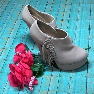 Tan Fringed Platform shoes by Shi